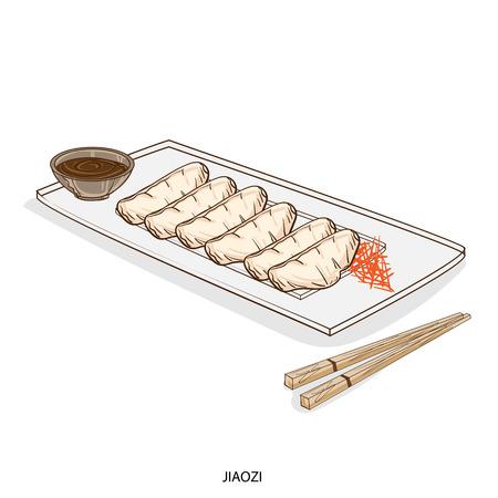 Illustratie van traditionele Aziatische schotel in een schotel met eetstokjes. Stock Illustratie