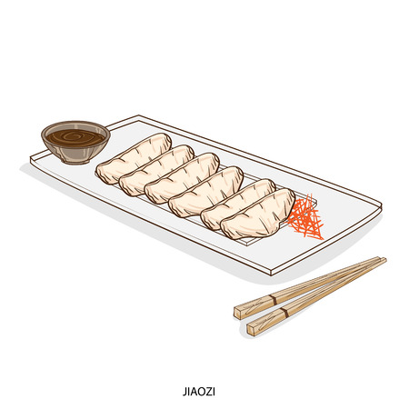 Illustration of traditional asian dish in a platter with chopsticks. 向量圖像
