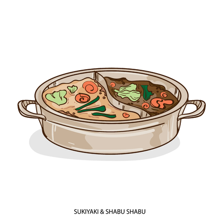 food object sukiyaki shabu hand drawing