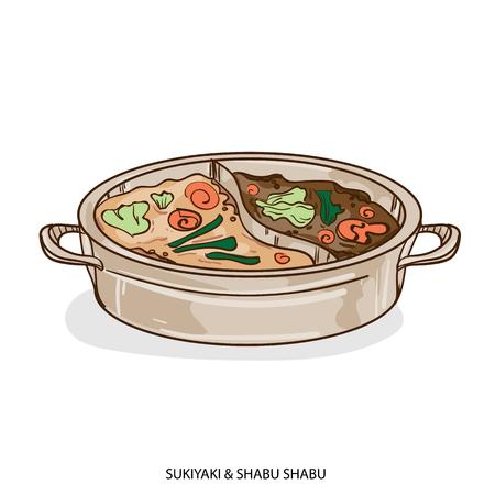 food object sukiyaki shabu hand drawing