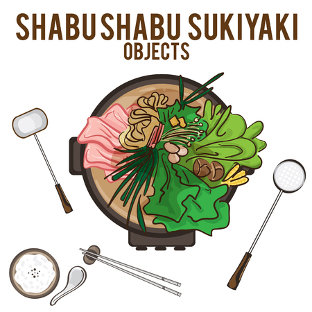 shsbu sukiyaki hand drawing graphic objects food