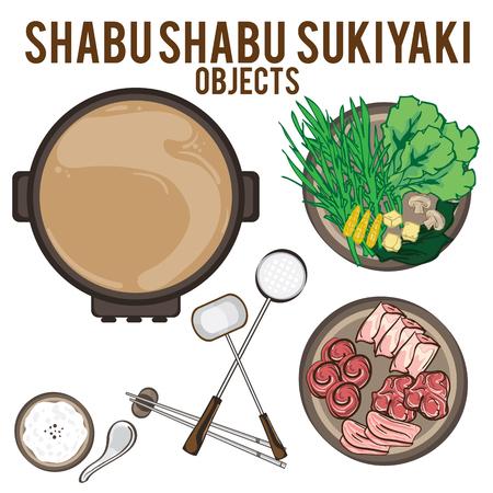 Shabu shabu objects illustration. Illustration