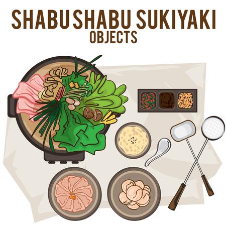 Shabu sukiyaki hand drawing graphic objects food.