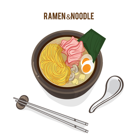 Food vector Japanese noodle ramen cuisine soup object. Illustration
