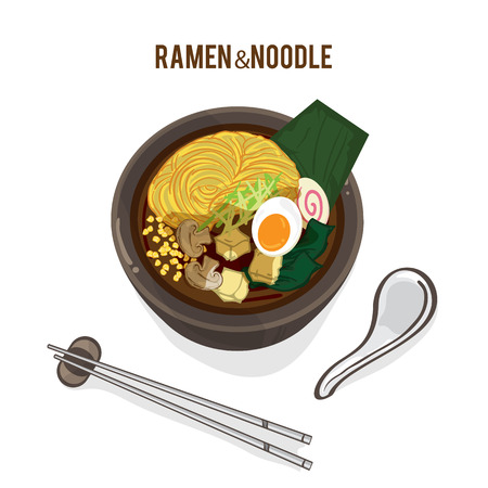 food vector Japanese noodle Ramen cuisine soup Illustration