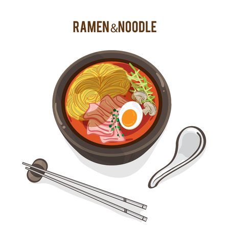 food vector Japanese noodle Ramen cuisine soup object  イラスト・ベクター素材