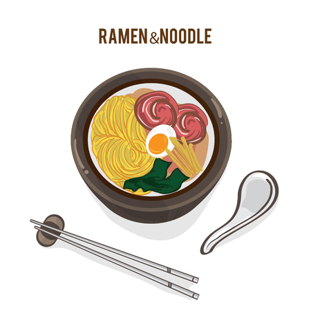 food vector Japanese noodle Ramen cuisine soup object Illustration