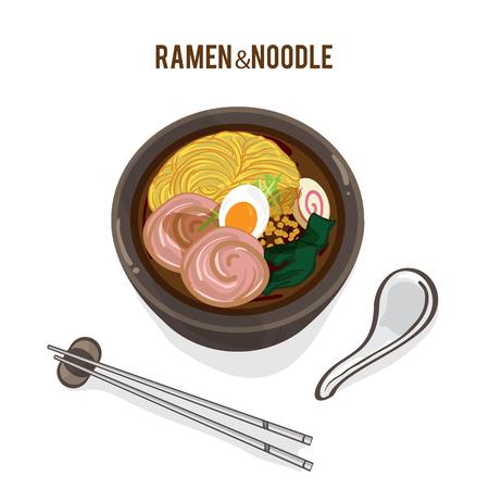 food vector Japanese noodle Ramen cuisine soup object Çizim