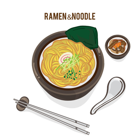 Food concept; Ramen Noodle with side dish, chopstick and spoon design in clip art illustration.