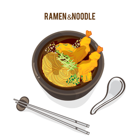 Food vector Japanese noodle ramen with chopstick and spoon
