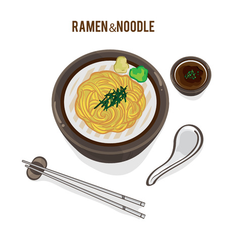 Food vector Japanese noodle ramen soup