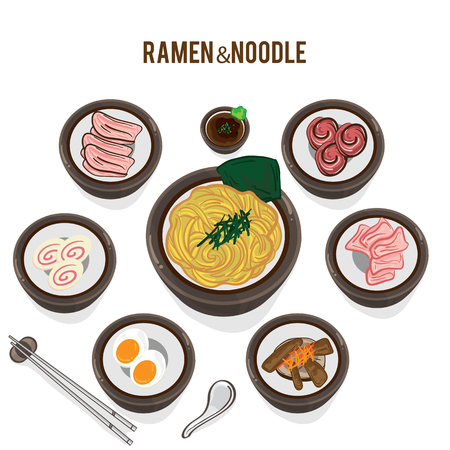 Set of Japanese noodle ramen vector illustration Illustration