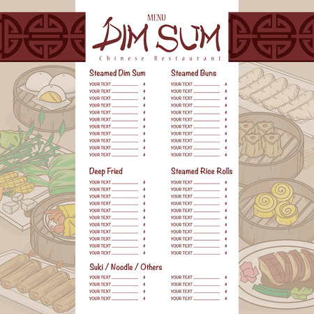 Menu Dim Sum Chinese Food Restaurant Template Design Royalty Free ...