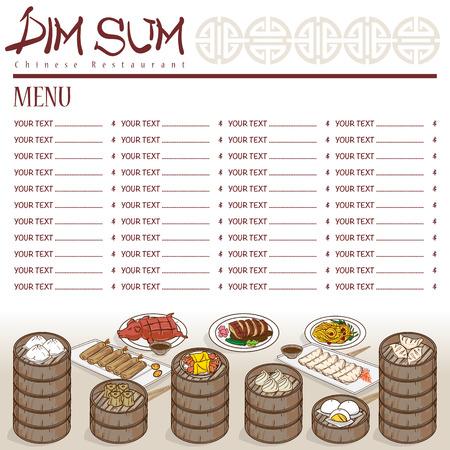 Menu dim sum Chinese food restaurant template design.