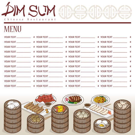 Menu dim sum Chinese food restaurant template design.