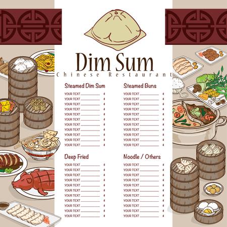menu dim sum chinese food restaurant template design Stock Vector - 89752035