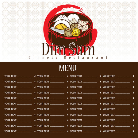 Menu dim sum chinese food restaurant template design Illustration