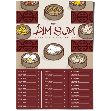 Menu illustration of  dim sum chinese food restaurant template design Illustration
