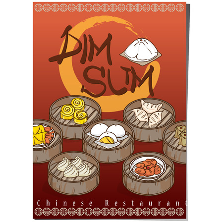 A vector illustration of dim sum chinese food restaurant menu template design