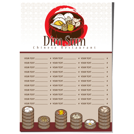 Chinese food restaurant dim sum menu concept template design.