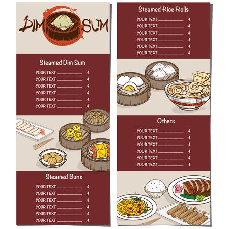 Menu dim sum chinese food restaurant template design Stock Vector - 90278359