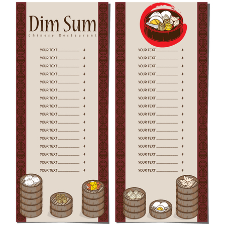 Menu dim sum chinese food restaurant template design Stock Vector - 90278355