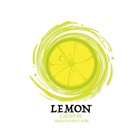fruit lemon graphic element design logo key visual water splash background