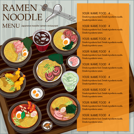 Japanese ramen noodle menu template design.