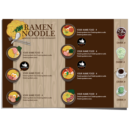 Menu ramen noodle Japanese food template design.