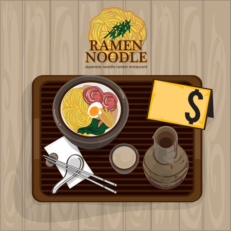 Ramen noodle food template design. Illustration