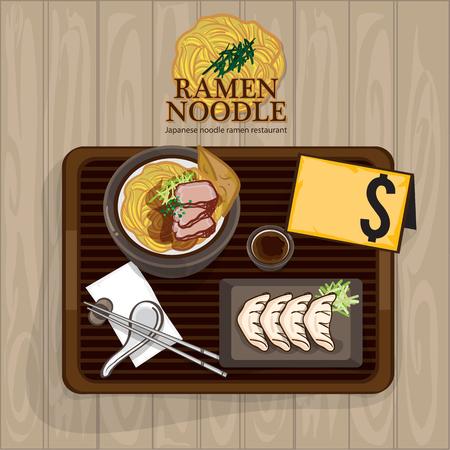 Menu ramen noodle Japanese food template design vector illustration. Illustration
