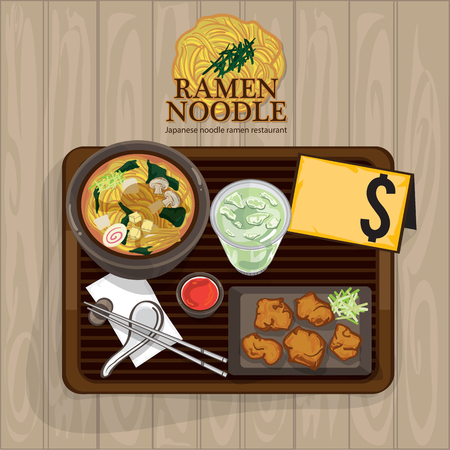 Japanese ramen noodle menu food template design Illustration