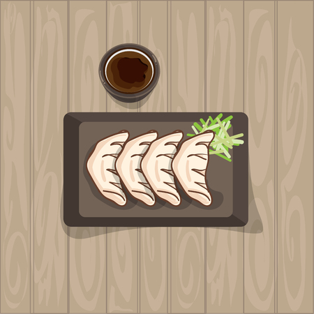 Jiaozi japanese chinese food graphic object top view