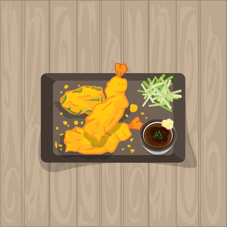 Tempura food graphic object top view vector illustration