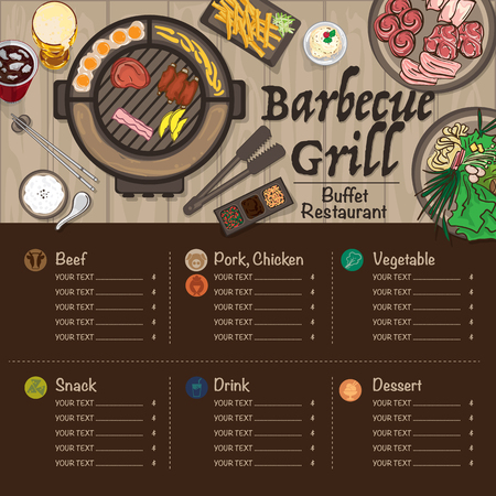 Menu barbecue grill restaurant template design graphic objects. Stock Illustratie