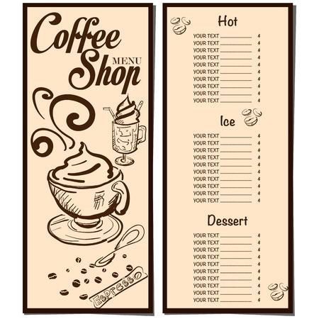 Gráfico del dibujo de la mano del diseño de la plantilla del restaurante del café de la cafetería del menú.
