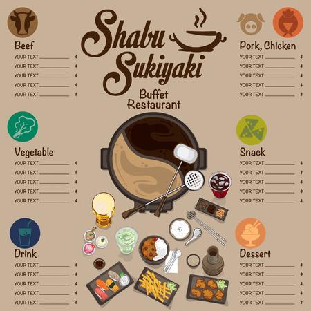 A menu shabu sukiyaki restaurant template design graphic objects