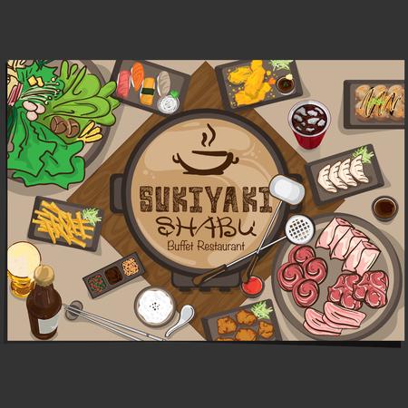 Menu shabu sukiyaki restaurant template design. graphic objects illustration. Illusztráció