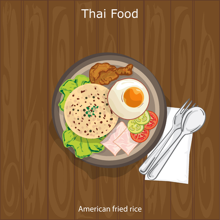 Thai food American fried rice Stock Vector - 95407289
