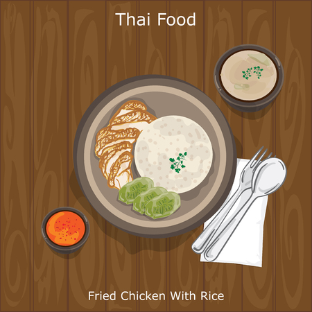 thai food Fried Chicken With Rice Stock Vector - 95365676