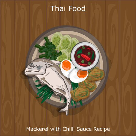 thai food Mackerel with Chilli Sauce  served on a plate in wooden background. Vector illustration. Illustration