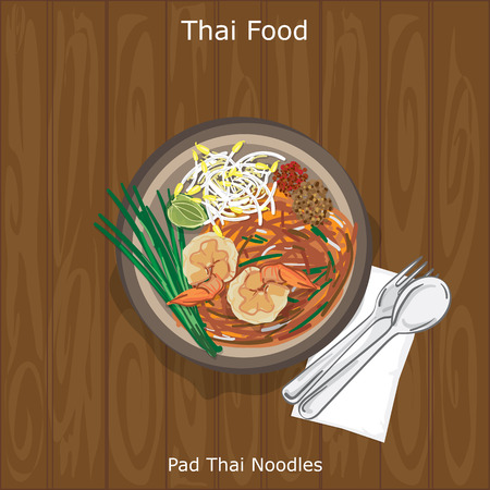 thai food: Pad Thai Noodles served in a bowl with spoon and fork. Vector illustration on wood background.