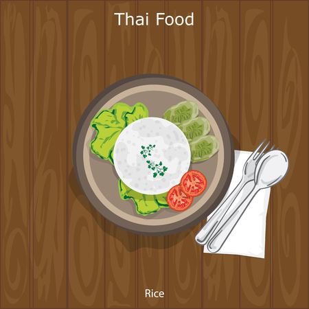 thai food: Rice served on a plate with vegetables on the side. Vector illustration on wood background. Illustration