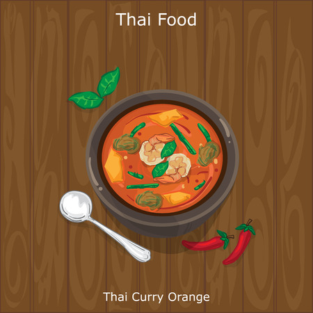 thai food: Thai Curry Orange served on a bowl with chili. Vector illustration on wood background.
