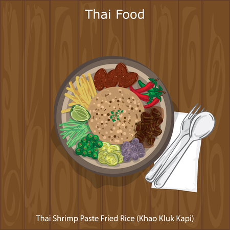 Thai Shrimp Paste Fried Rice, Thailand food concept illustration on wooden background. Illustration