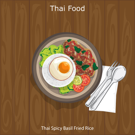 Thai Spicy Basil Fried Rice, Thailand food concept illustration on wooden background. Illustration