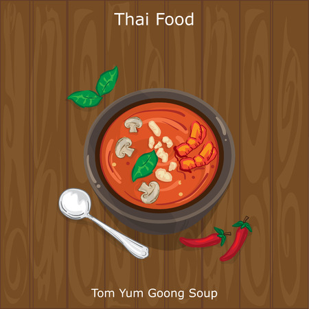 Tom Yum Goong Soup, Thailand food concept illustration on wooden background.