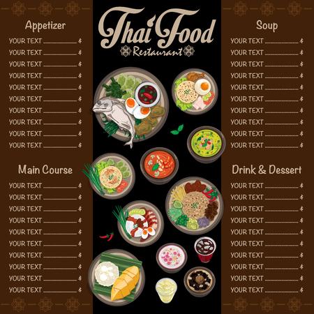 Menü Thai Lebensmittel Design Vorlage Grafik Vektor-Illustration Standard-Bild - 95645907