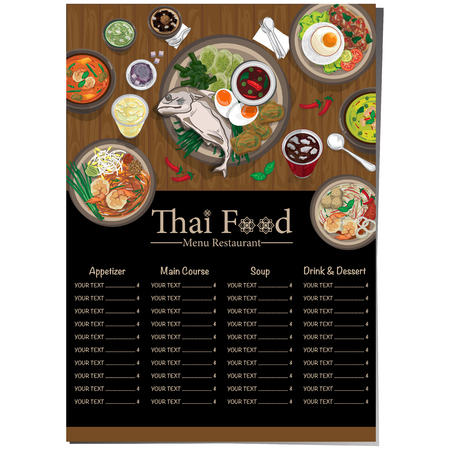 menu thai food design template graphic Vector illustration.