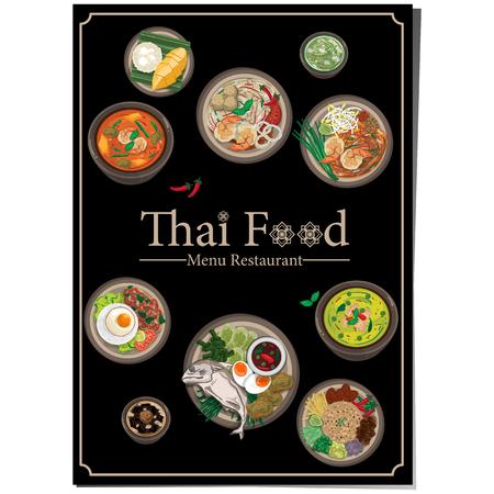 Menü Thai Lebensmittel Design Vorlage Grafik Vektor-Illustration Standard-Bild - 95744681
